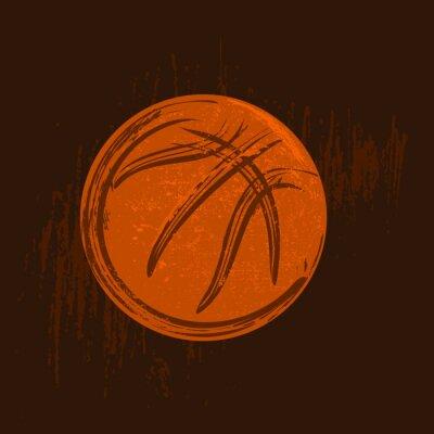 Obraz Symbol koszykówki rysowanie czarnych kresek ciemnym tle