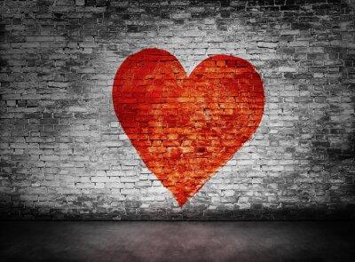 Obraz Symbol miłości malowane na mętnej murem