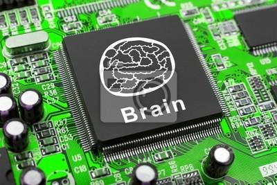 Symbol mózgu na komputerze chip, koncepcji technologii