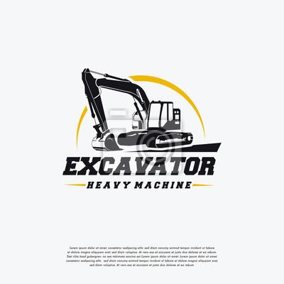 Obraz Szablon logo ciężkiej maszyny koparki, szablon odznaka logo Wielkiej koparki, ikona symbol logo