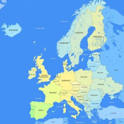 Obraz Szczegółowa mapa Europy