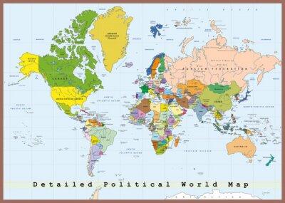 Obraz Szczegółowa Mapa Świata polityczna