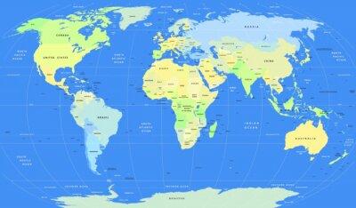 Obraz Szczegółowe wektora polityczna mapa świata