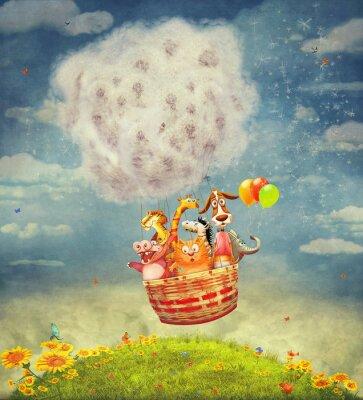 Obraz Szczęśliwe zwierzęta w powietrze balon na niebie - ilustracja sztuka