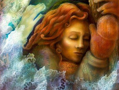 Obraz Szef marzy bajki kobiety z czerwonymi włosami i glowes zimowych