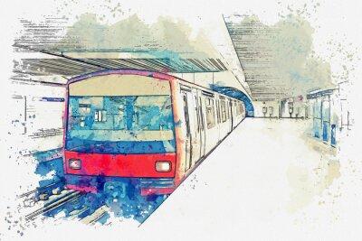 Obraz Szkic akwarela lub ilustracja metra w Lizbonie w Portugalii. Tradycyjny pociąg metra na stacji metra