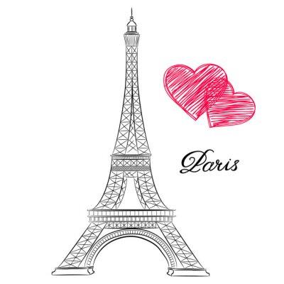 Obraz szkic Paryżu, Wieża Eiffla z serca. ilustracji wektorowych