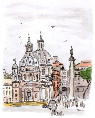 Obraz Szkic placu w Rzymie