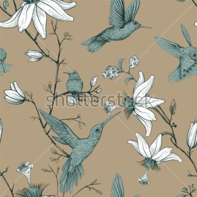 Obraz Szkic wektor wzór z ptaków i kwiatów. Antykwarski bezszwowy wzór z patroszonymi kwiatami. Tapeta z motywem kwiatowym. Projekt dla sieci, papier pakowy, okładka, tkanina, tkanina, tapeta