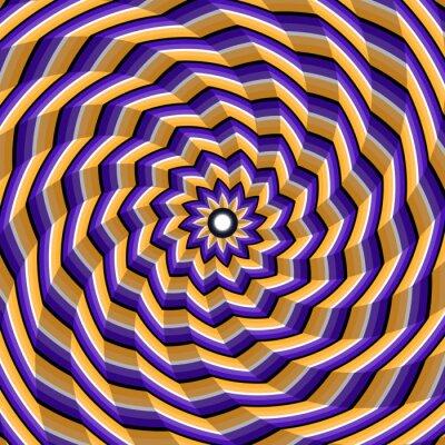 Obraz Szlifowane spiralne skręcenie do centrum. Streszczenie wektora złudzenie optyczne tła.