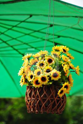 Obraz Sztuczne Kwiaty Doniczki Wiszące