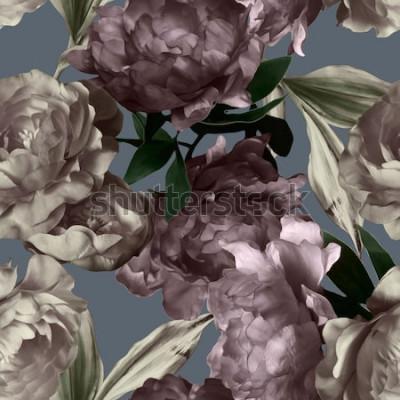 Obraz sztuka sztuka monochromatyczne grafiki i akwarela kwiatowy wzór bez szwu z piwonie białe i fioletowe na szarym tle
