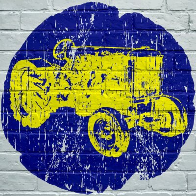 Obraz Sztuka uliczna. Tracteur agricole grunge
