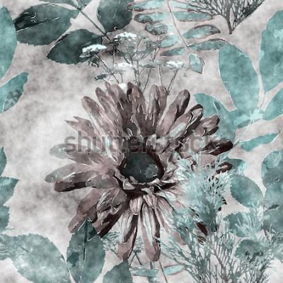 Obraz sztuka vintage akwarela kolorowy kwiatowy wzór bez szwu z dużym gerbera, liści i traw na tle