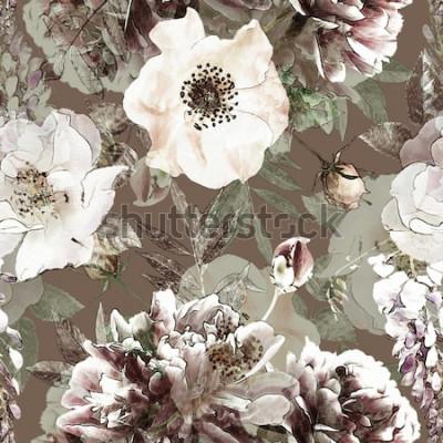 Obraz sztuka vintage ołówek kwiatowy kolorowy wzór z białych róż i piwonie na zielonym tle. Podwójna ekspozycja i efekt Bokeh