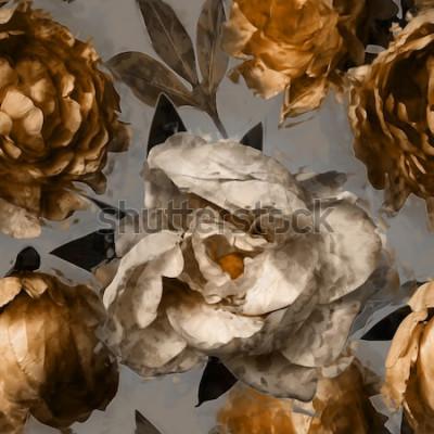 Obraz sztuka wzór kwiatowy wzór z piwonie białe i złote na szarym tle