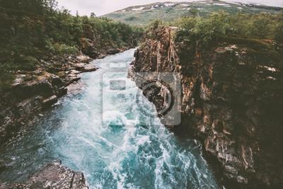 Obraz Szwecja krajobraz kanion rzeki Abiskojakka podróży widok z lotu ptaka Abisko park narodowy pustkowie natura lato sezon scandinavian scenerii