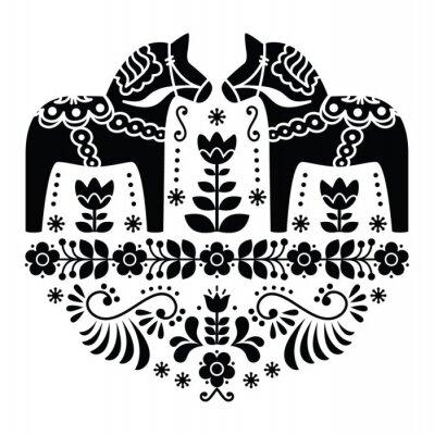 Obraz Szwedzki koń Dala lub Daleclarian ludowa w czarny wzór