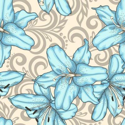 Obraz szwu z niebieskimi kwiatami lilii i abstrakcyjnych kwiatów wiruje
