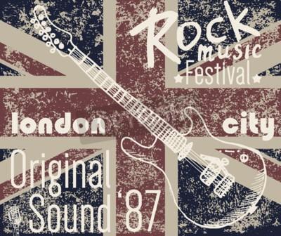 Obraz T-shirt Projekt graficzny, grafika typografia, London Rock festiwal ilustracji wektorowych z flagą grunge i ręcznie narysowany szkic gitara Badge Applique Label.