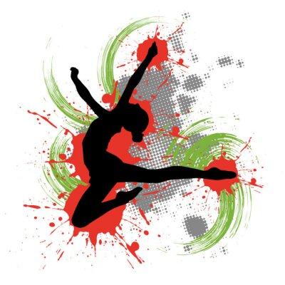 Obraz Tancerka z przodu kolorowe tło z plamami koloru