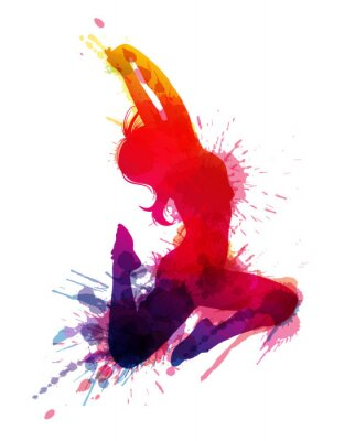 Obraz Taniec dziewczyny z grungy odpryskami