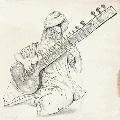 Obraz Tanpura Player - vector illustration (converted)