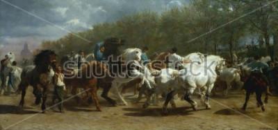 Obraz TARGI KONNE, Rosa Bonheur, 1852-55, malarstwo francuskie, olej na płótnie. Rynek koni w Paryżu na boulevard de lx90Hopital był malowany przez okres 3 lat. Podczas szkicowania na stronie dla
