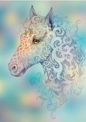 Obraz Tatuaż, piękna głowa konia z grzywą