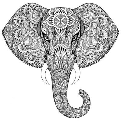 Obraz Tatuaż słoń z wzorami i ozdoby
