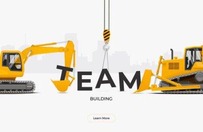 Obraz Team building banner template design concept. Excavator and dozer collecting team word. Vector illustration.