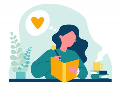 Obraz Teenage girl writing diary or journal. Happy young woman reading book and taking notes with pencil. Vector illustration for journal, author, student, teenager in love concept