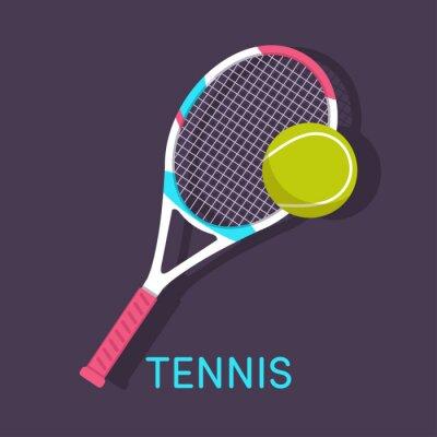 Obraz Tenis, rakieta, piłka brązowym tle