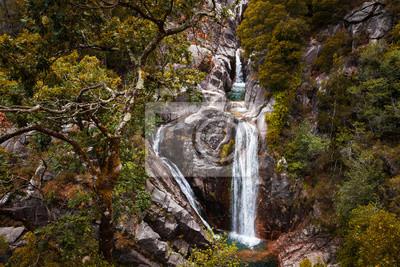 The beautiful Arado Waterfall (Cascata do Arado) at the Peneda Geres National Park in northern Portugal, Europe.