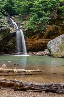 The Lower Falls at Old Mans Cave - The Lower Falls at Old Man's Cave, in Ohio's Hocking Hills State Park, splashes into a beautiful forested gorge cut deep into Black Hand Sandstone.