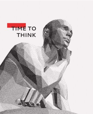 Obraz Time to think. A man with his hand on his chin as though he was thinking. Artificial intelligence concept. Searching for answers. Your personal assistent. 3D vector illustration.