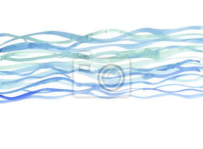 Obraz tle rzeki. morze Akwarele ilustracji. niebieska woda ręcznie d