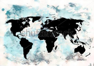 Obraz Tło mapy świata. Grunge tła. Abstrakcyjna sztuka emocjonalna. Nowoczesny element projektu.
