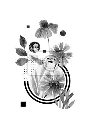 Obraz Tło nagłówka streszczenie: akwarela spada kwiaty i liście, minimalne geometryczne