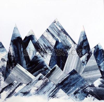 Obraz Tło sztuki. Tekstury atramentu na papierze. Streszczenie kolaż góry