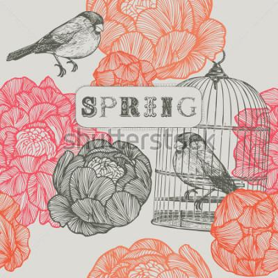 Obraz Tło wiosna. Ptaki i klatki. Obejmuje wzór