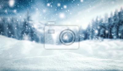 Obraz tło zima śniegu i mróz z krajobrazu lasu