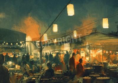 Obraz Tłum ludzi chodzenia na rynku w nocy, cyfrowy obraz