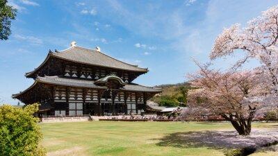 Obraz Todaiji Temple w sakura sezonu w Nara w Japonii