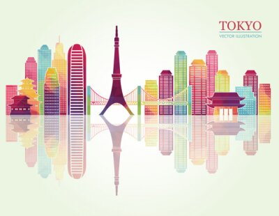 Obraz Tokio szczegółowe horyzontu. ilustracji wektorowych