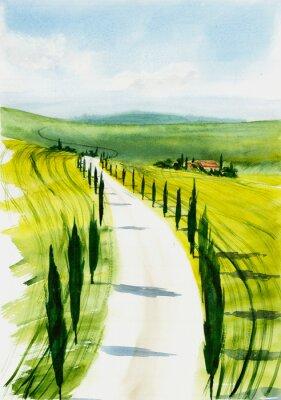 Obraz Toscana landscape. Watercolor illustration