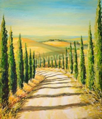 Obraz Toskania: krajobraz wiejski z drogą, pola i wzgórza. Obraz stworzony z akrylowych kolorów.