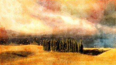 Obraz Toskański akwarela lanscape.