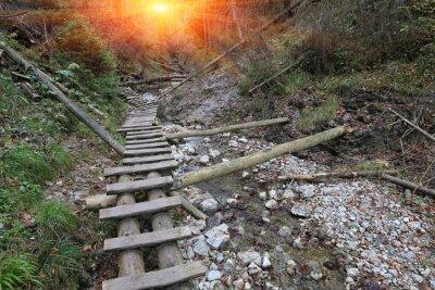 tourist trail in mountain gorge Slovenky Raj