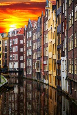 Obraz Tradycyjne starych budynków w Amsterdamie